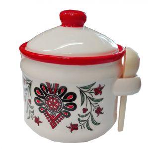 Ceramika CK-H067 Pojemnik Łyżeczka Parzenica czerwony