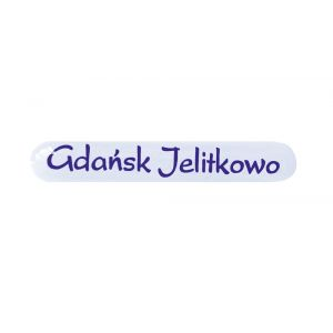 Naklejka-biała mała-Gdańsk Jelitkowo (100 szt.)